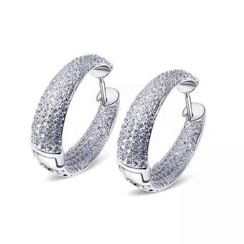 47936- Серьги кольца из серебра с микроцирконами в стиле Grisogono