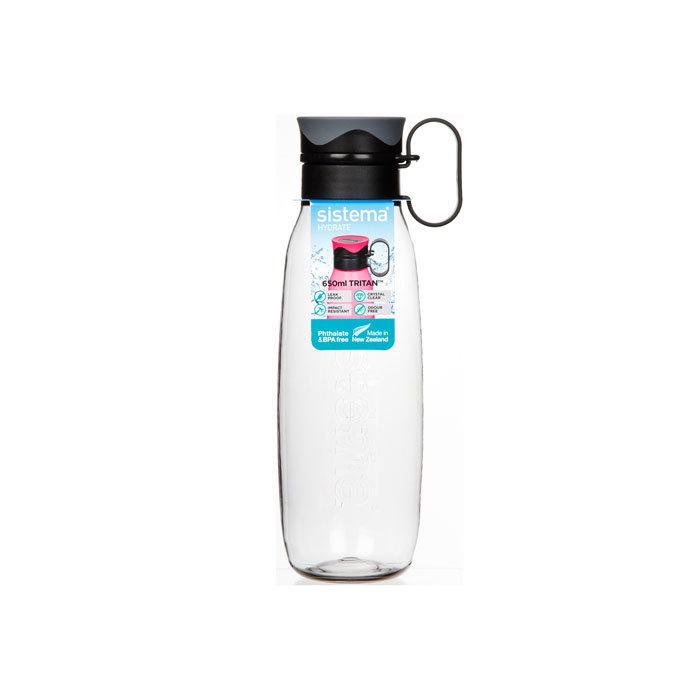 """Бутылка для воды с петелькой Sistema """"Hydrate"""", Тритан, 650 мл, цвет Черный"""