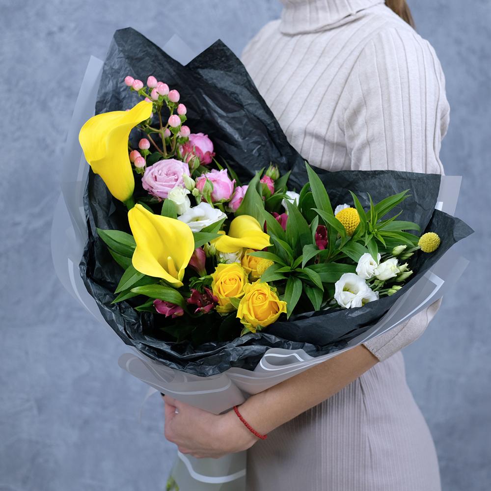 Стильный букет с желтыми каллами купить заказать онлайн в интернет магазине Пермь доставка на дом круглосуточно