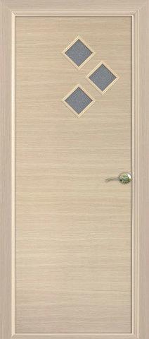 Дверь Сибирь Профиль Стрела, цвет беленый дуб, остекленная