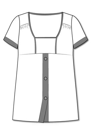 Лекала блузы, вырез горловины «каре»