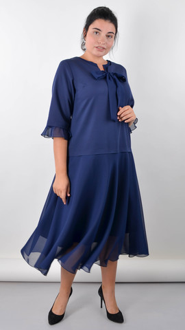 Касандра. Святкова сукня плюс сайз. Синій.