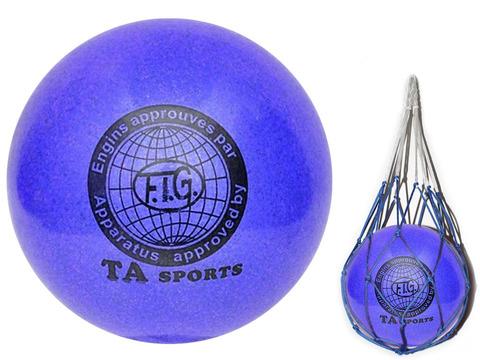 Мяч для художественной гимнастики. Диаметр 15 см. Цвет синиий с добавлением глиттера. К мячу прилагается сетка для переноски. :(Т12):