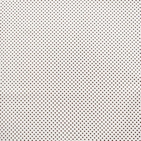 Ткань хлопковая темно-коричневый горошек 3 мм на белом. Отрез 50*80 см