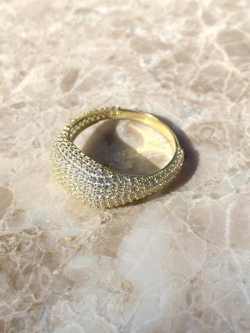 Кольцо Бурлеск из позолоченного серебра с прозрачными цирконами