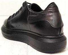 Черные кеды кроссовки женские кожанные EVA collection 0721 All Black.