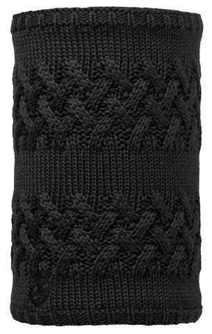 Вязаный шарф-труба с флисом Buff Savva Black фото 1