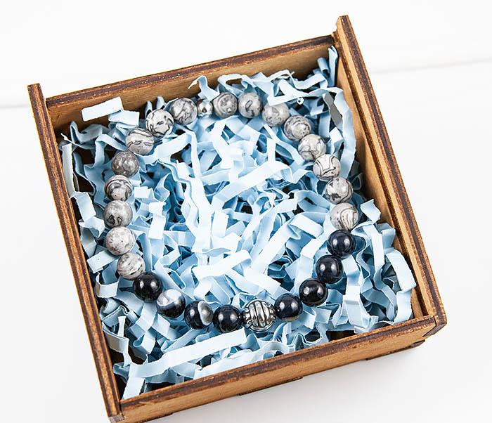 BS874 Браслет из камня со стальной бусиной «Кулак Обезьяны» фото 08