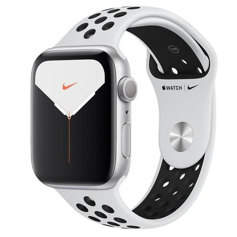 Часы Apple Watch Series 5 GPS 44mm Aluminum Case with Nike Sport Band (Серебристый/Чистая платина)