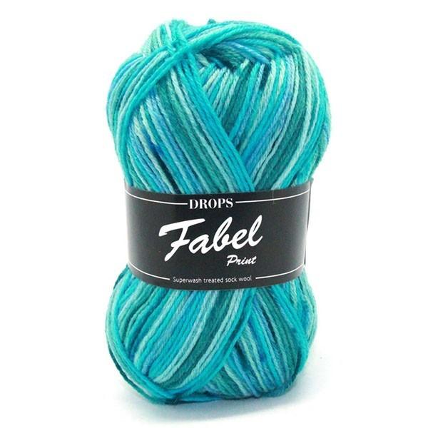Пряжа Drops Fabel 340 голубая лагуна