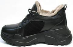 Черные кроссовки с черной подошвой женские зимние Studio27 547c All Black.
