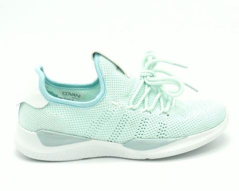 Зеленые кроссовки из текстиля на низкой платформе