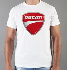 Футболка с принтом Ducati (Дукати) белая 0012