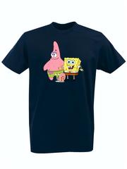 Футболка с принтом мультфильма Губка Боб Квадратные Штаны/ Спанч Боб (SpongeBob SquarePants) темно-синяя 0010