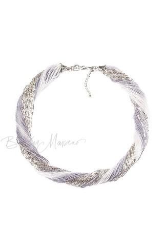 Бисерное ожерелье из 36 нитей  цвет серебристо-серый