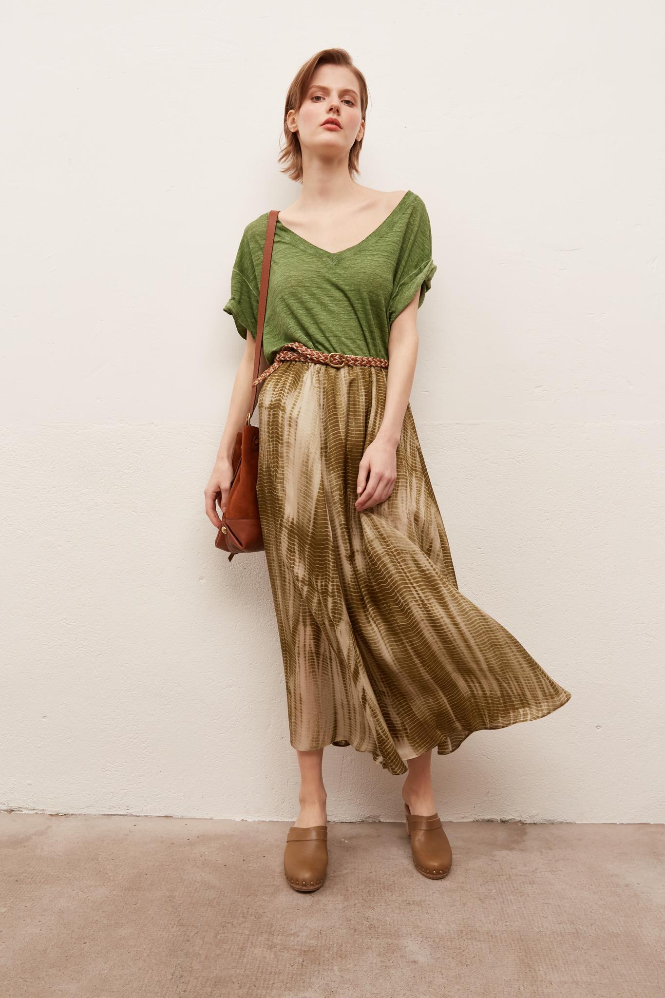 LATIKA - длинная шелковая юбка с принтом тай-дай