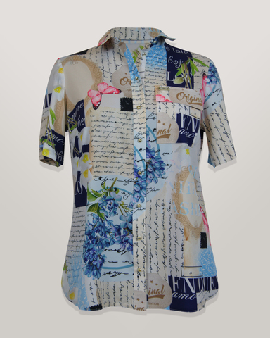 Блузка HAT рубашка карман письмо/цветы к/р