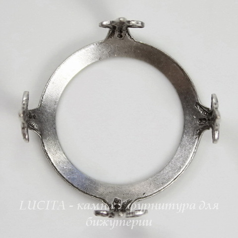 """Сеттинг - основа """"Черепашка"""" для камеи или кабошона 19 мм (оксид серебра)"""