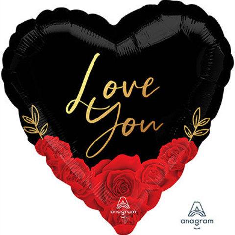 Шар 45см Love you Розы красные на черном