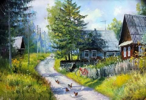 Картина раскраска по номерам 40x50 Курочки на деревенской дороге