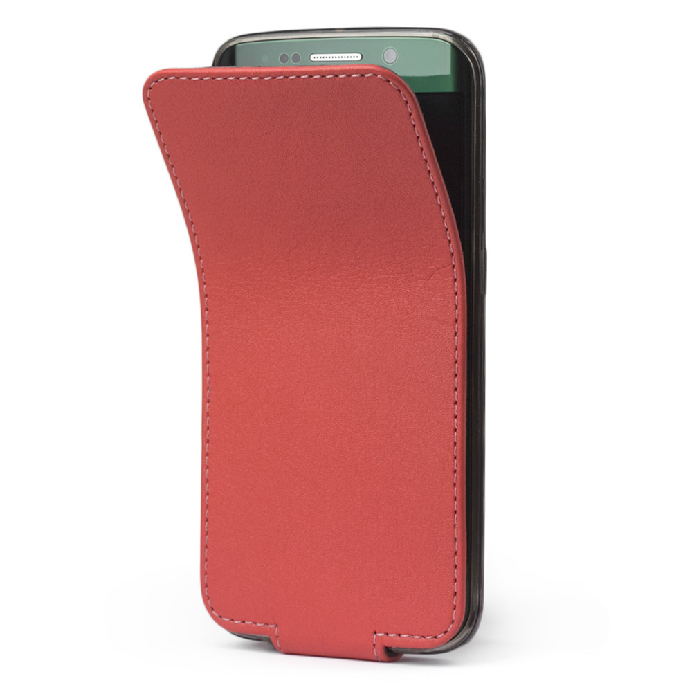 Чехол для Samsung Galaxy S6 edge из натуральной кожи теленка, кораллового цвета