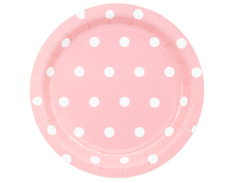 1502-3915 Тарелка Горошек розовая 17см 6шт/G