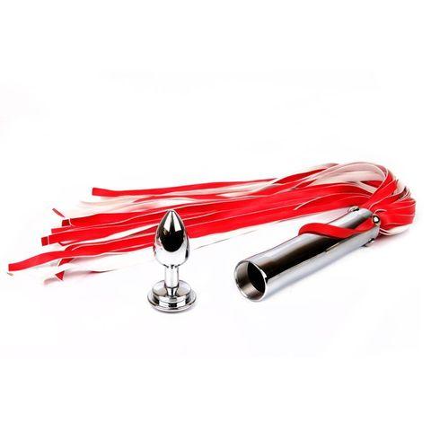 Красная плетка Notabu с красным кристаллом в основании - 58 см.