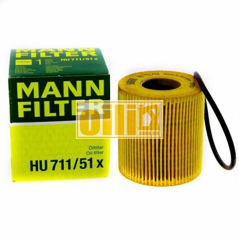 Фільтр масляний MANN HU711/51X (BMW, Citroen, Fiat, Ford, Land Rover, Peugeot, Volvo)