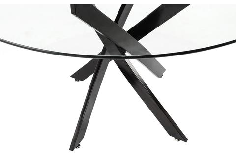 Стеклянный стол кухонный, обеденный, для гостиной Komo Black 120*120*74 Черный /Прозрачный