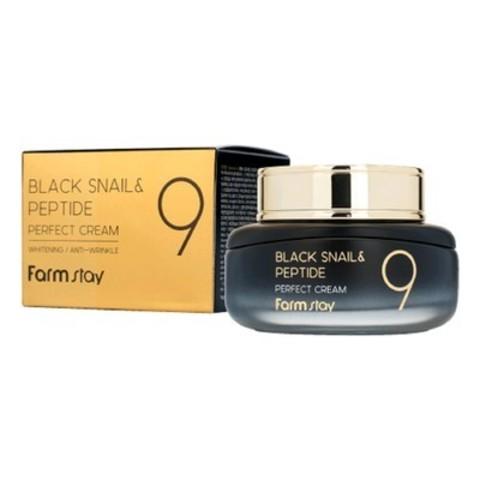 FarmStay Black Snail & Peptide 9 Perfect Cream омолаживающий крем с муцином черной улитки и пептидами