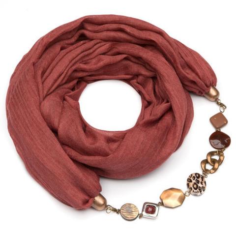 Хлопковый шарф с ожерельем