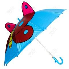Детский зонтик голубой с бабочкой и ушками со свистком