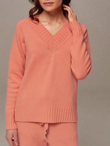 Женский джемпер кораллового цвета из шерсти и кашемира - фото 3