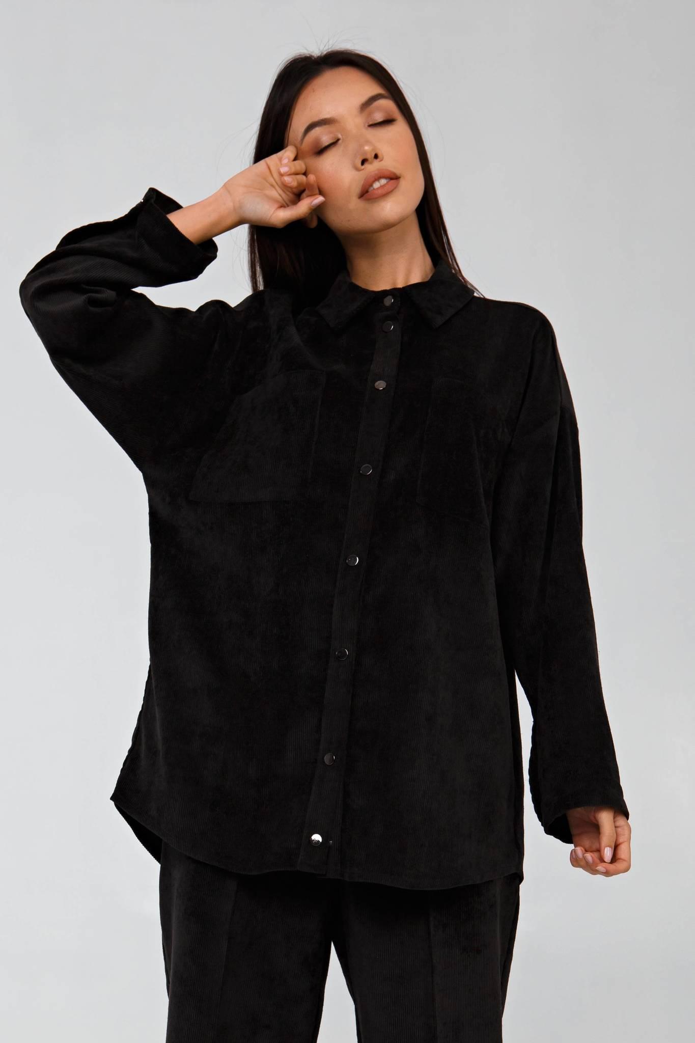 Вельветовая рубашка в рубчик графитовая YOS от украинского бренда Your Own Style
