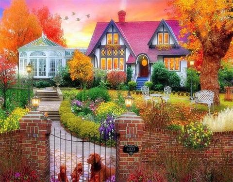 Картина раскраска по номерам 40x50 Уютный дворик с собакой (арт. RA3596)