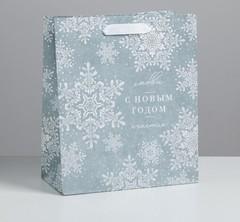 Пакет крафтовый вертикальный «С Новым годом», ML 23 × 27 × 11.5 см,