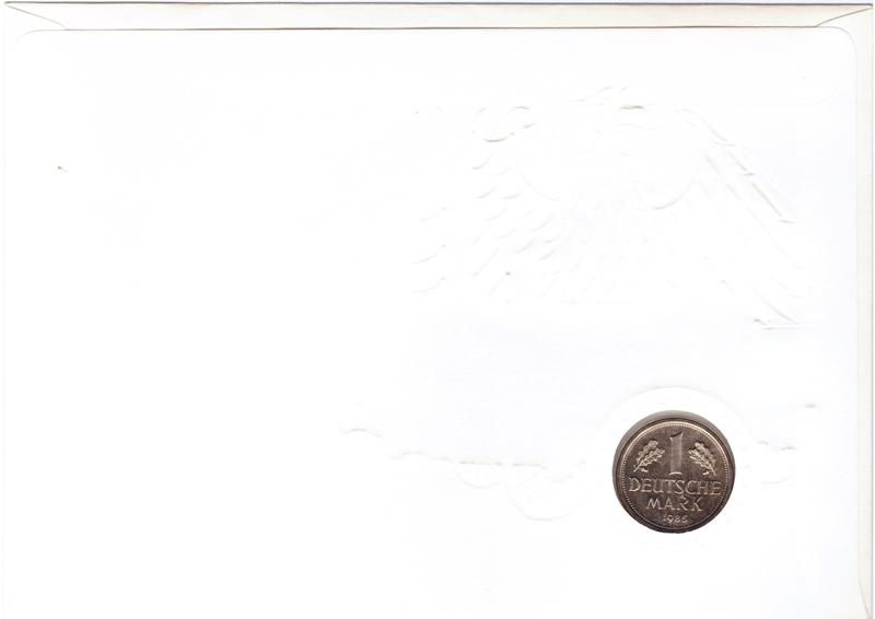 1 марка 1985 год. (D) Германия. Медноникель. UNC. В конверте со спецгашением