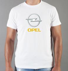 Футболка с принтом Опель (Opel) белая 001