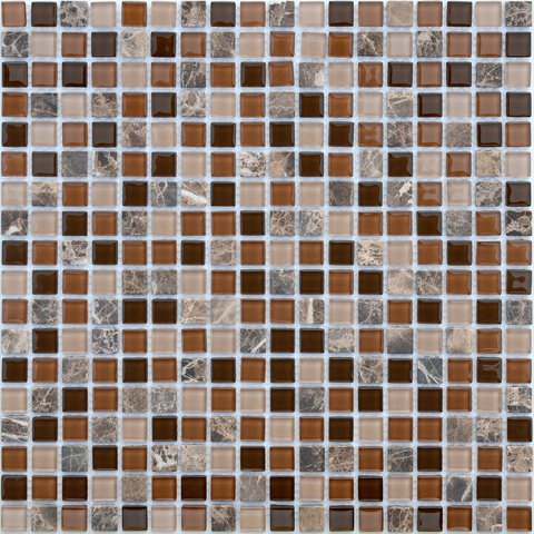 Мозаика стеклянная с камнем Andorra 15x15x4 305х305