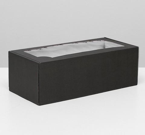 Коробка с окном Черная, 16*35*12см
