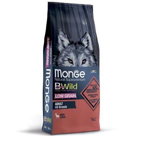 Monge Dog BWild Low Grain Сухой корм для взрослых собак всех пород из мяса оленя, низкозерновой