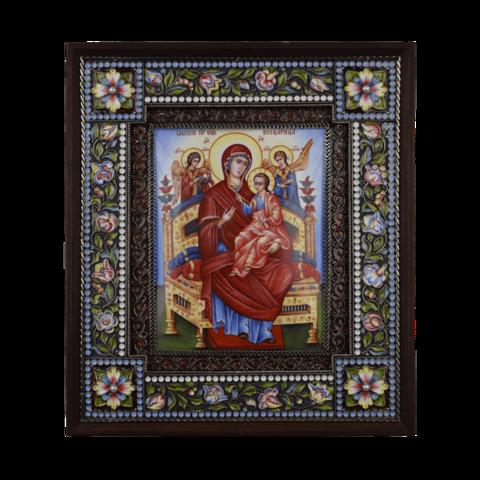 Икона  финифть Пресвятая Богородица Всецарица