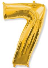 Воздушный шар (40''/102 см) Цифра, 7, Золото, 1 шт.