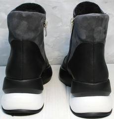 Модные зимние ботинки без шнурков женские Jina 7195 Leather Black-Gray