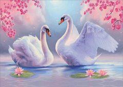 Алмазная Мозаика + Багет 40x50 Лебеди и кувшинки