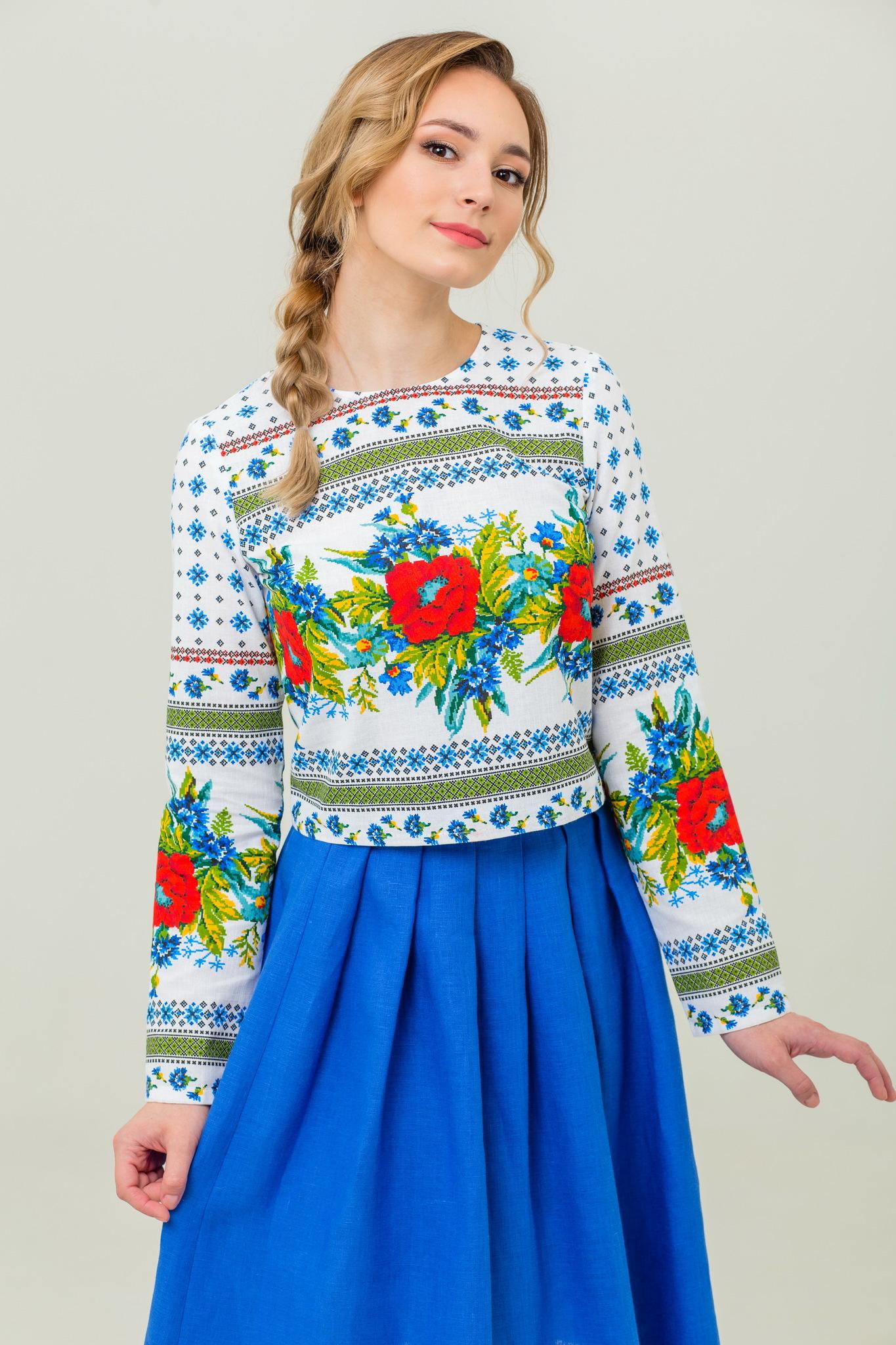 Блуза в русском стиле Маков цвет