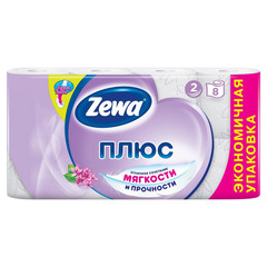 Бумага туалетная Zewa Плюс 2-слойная белая с ароматом сирени (8 рулонов в упаковке)