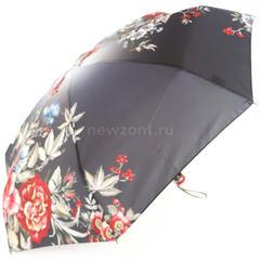 Лёгкий чёрный зонт TRUST с красными и голубыми цветами