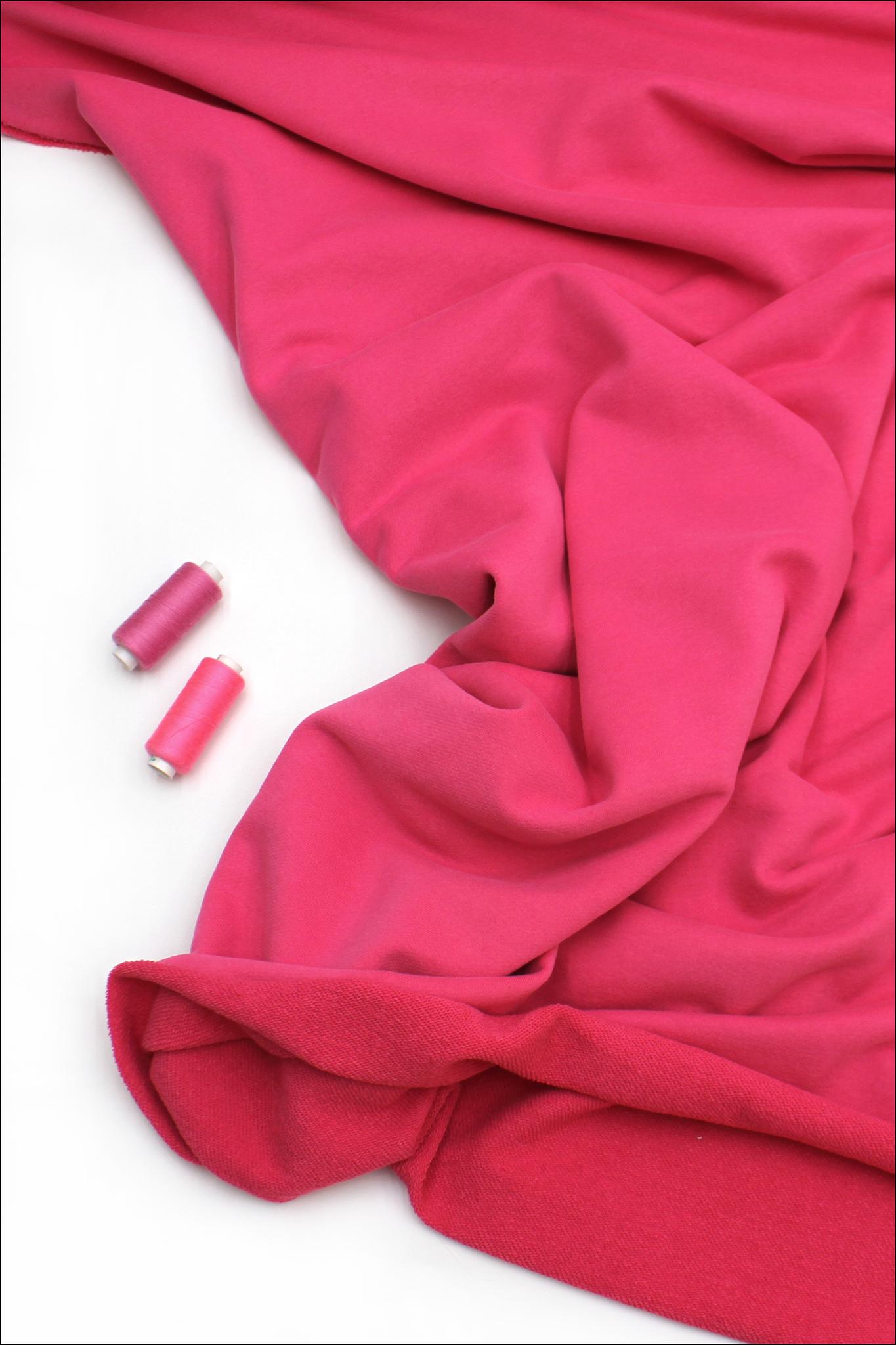 Футер 3х нитка петля, ярко-розовый, велюр-эффект, 330 гр