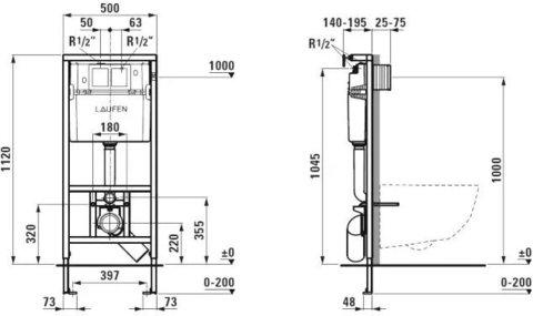Комплект унитаз безободковый и система инсталляции с кнопкой смыва Laufen Pack Pro 8.6996.6.000.000.R с сиденьем микролифт схема тнмьалляции